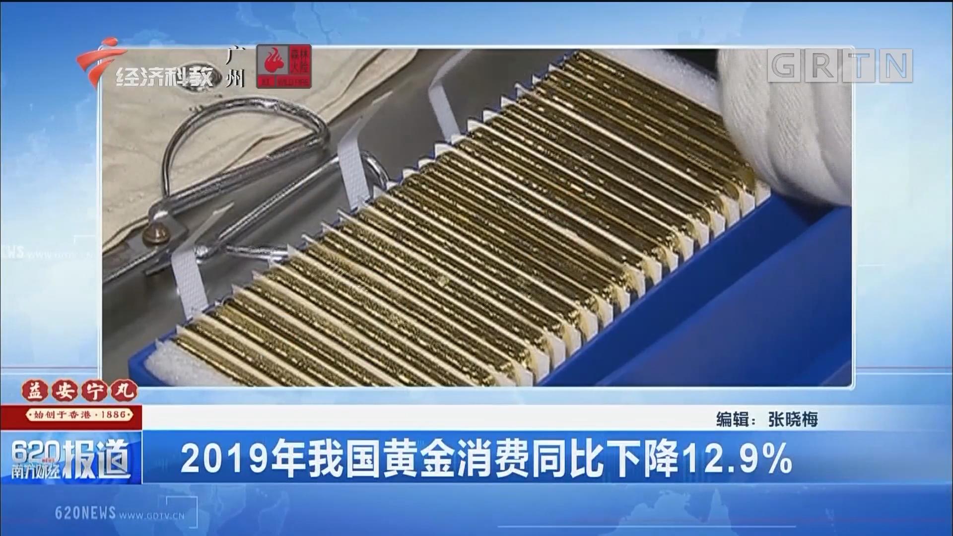 2019年我国黄金消费同比下降12.9%