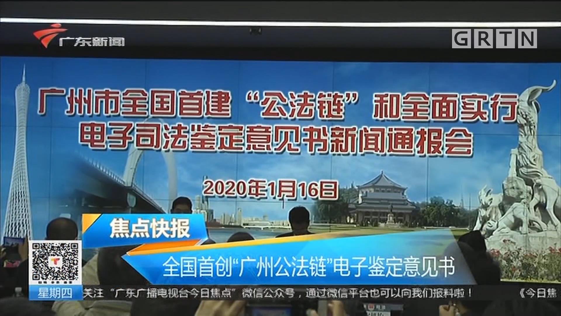 """全国首创""""广州公法链""""电子鉴定意见书"""
