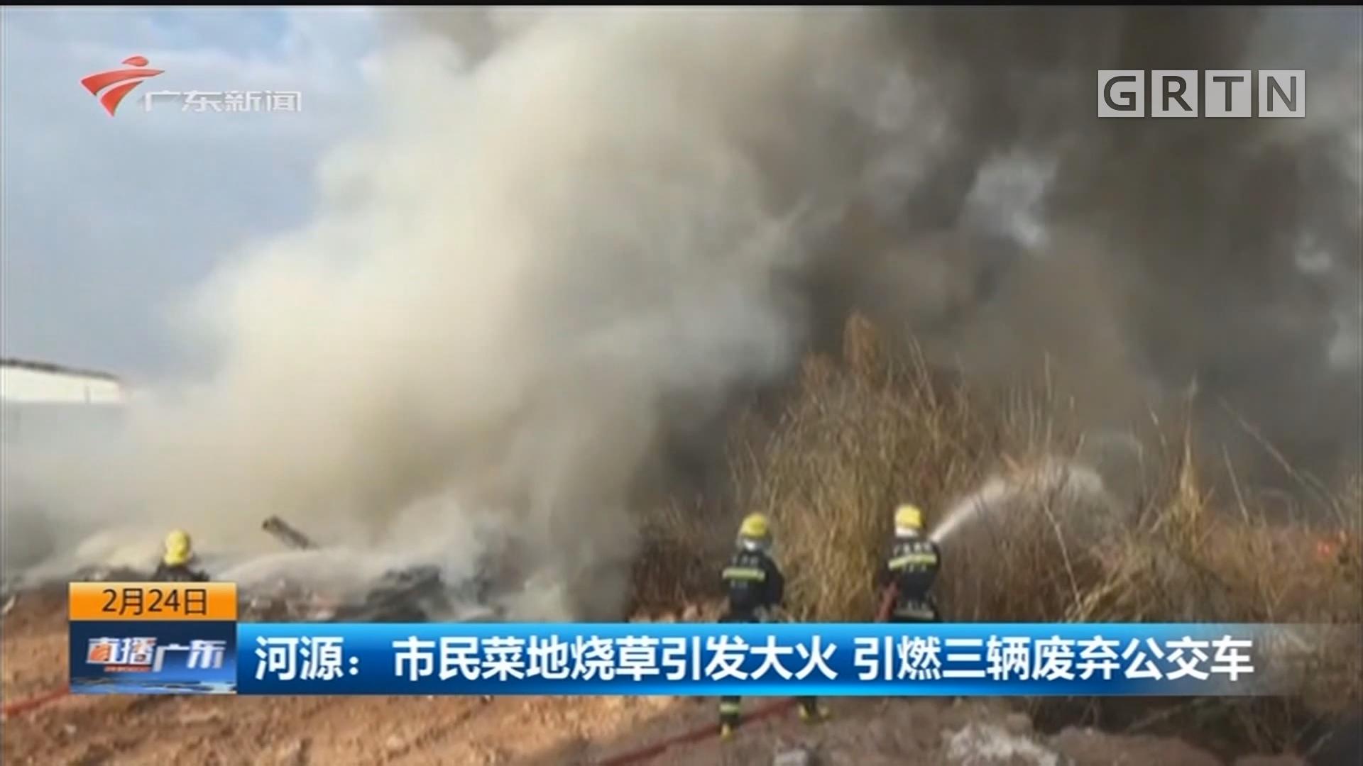 河源:市民菜地烧草引发大火 引燃三辆废弃公交车