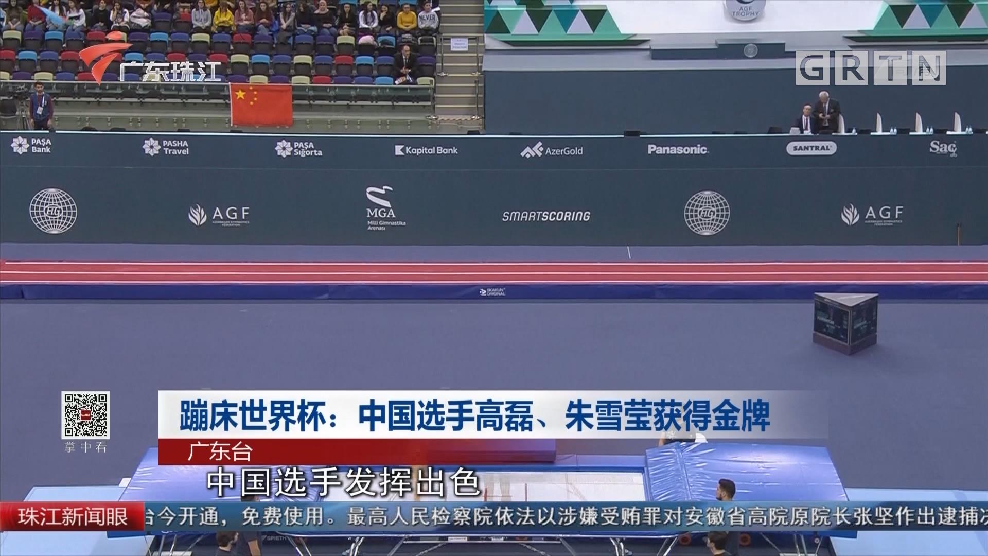 蹦床世界杯:中国选手高磊、朱雪莹获得金牌