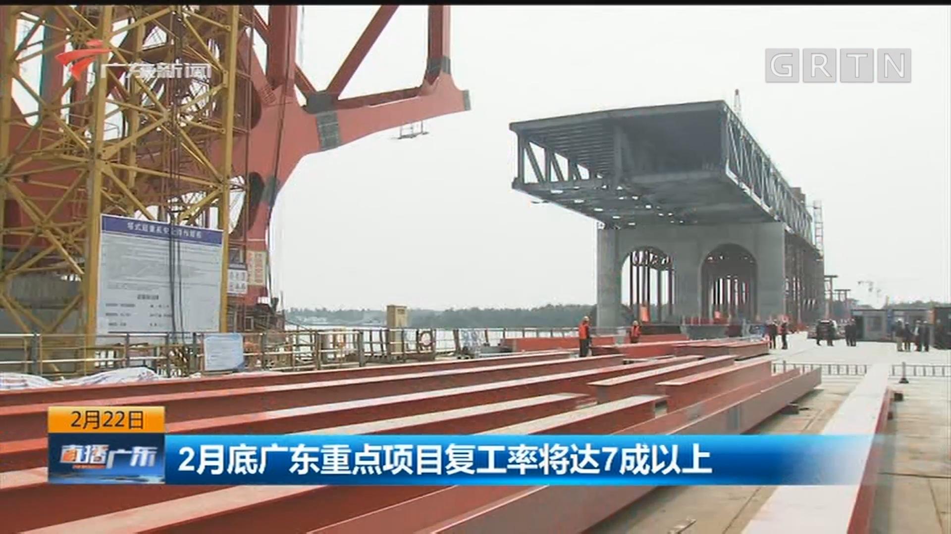 2月底广东重点项目复工率将达7成以上