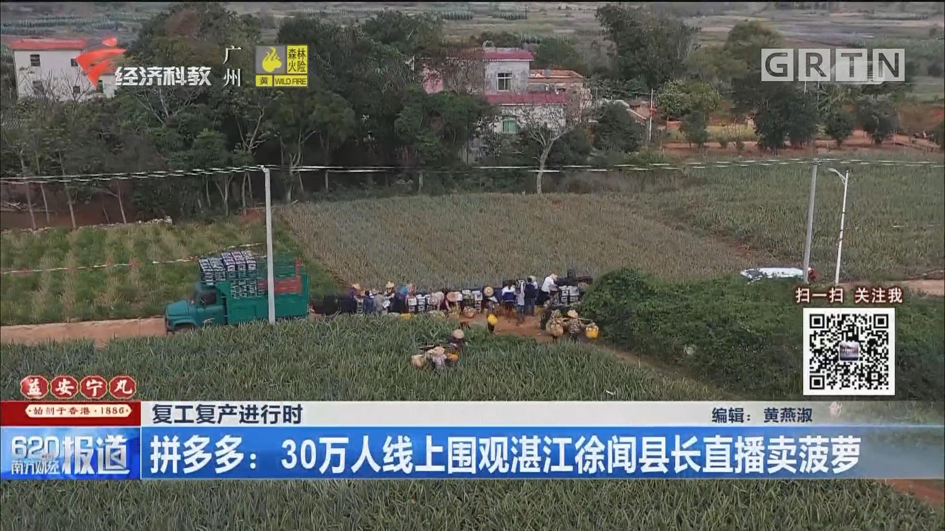 复工复产进行时 拼多多:30万人线上围观湛江徐闻县长直播卖菠萝