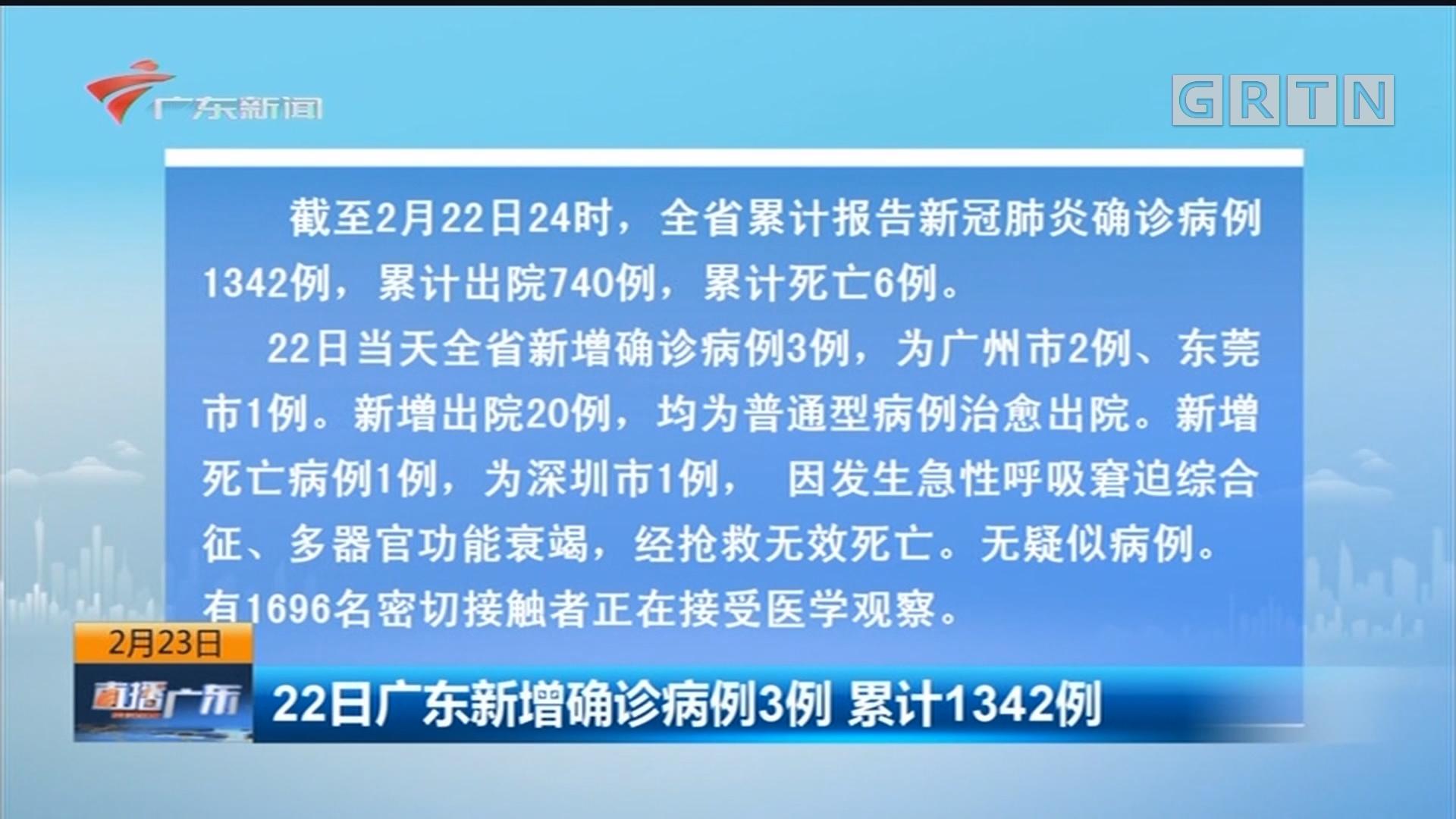 22日广东新增确诊病例3例 累计1342例