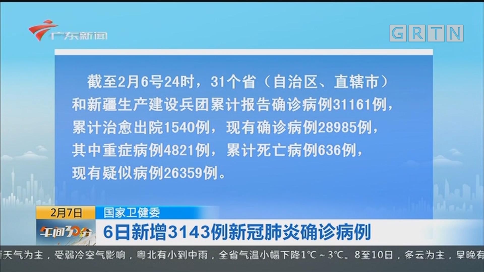 国家卫健委:6日新增3143例新冠肺炎确诊病例