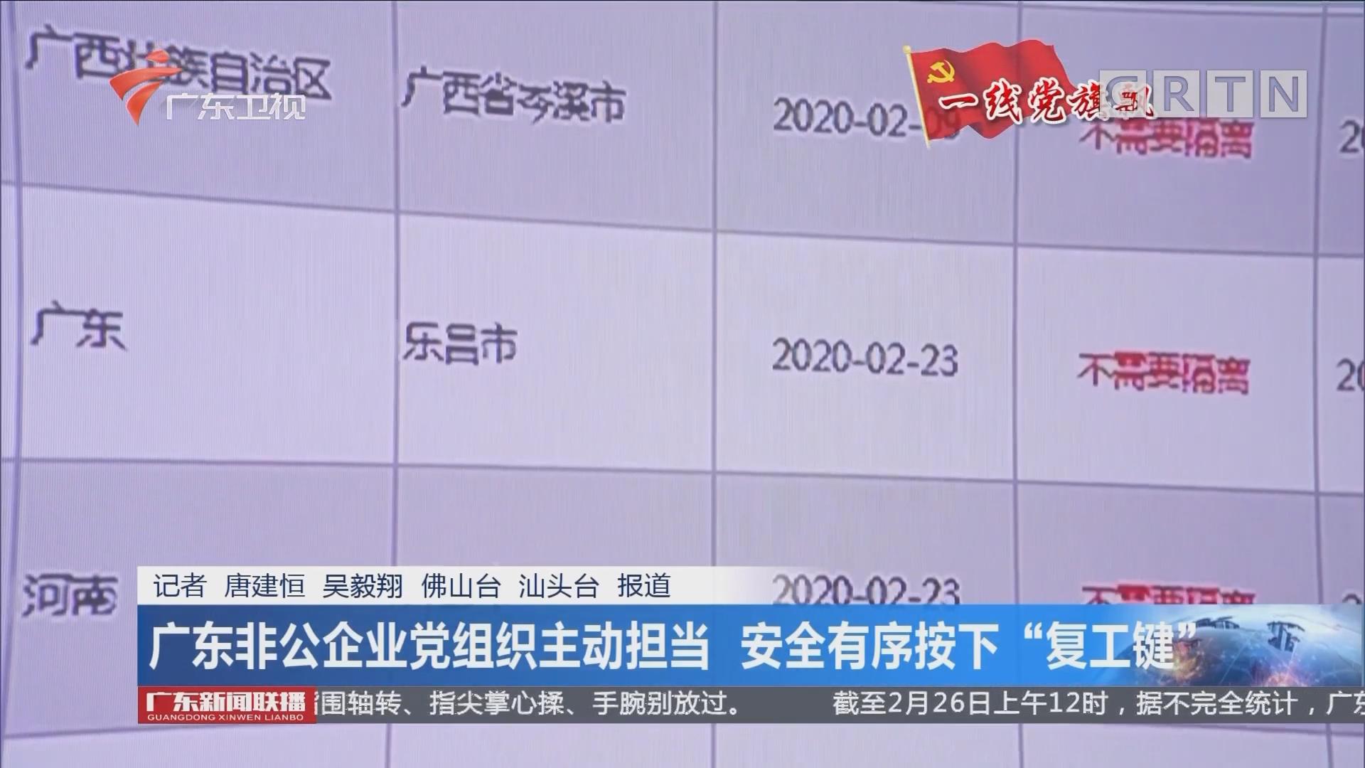 """广东非公企业党组织主动担当 安全有序按下""""复工键"""""""