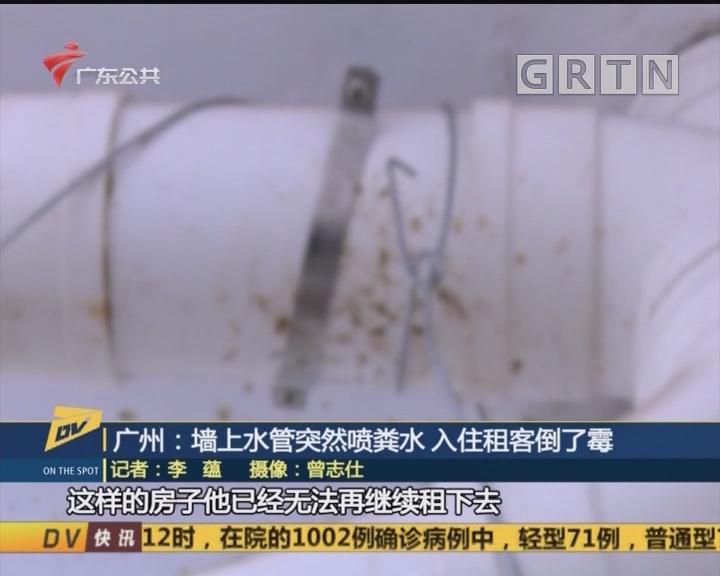 (DV现场)广州:墙上水管突然喷粪水 入住租客倒了霉