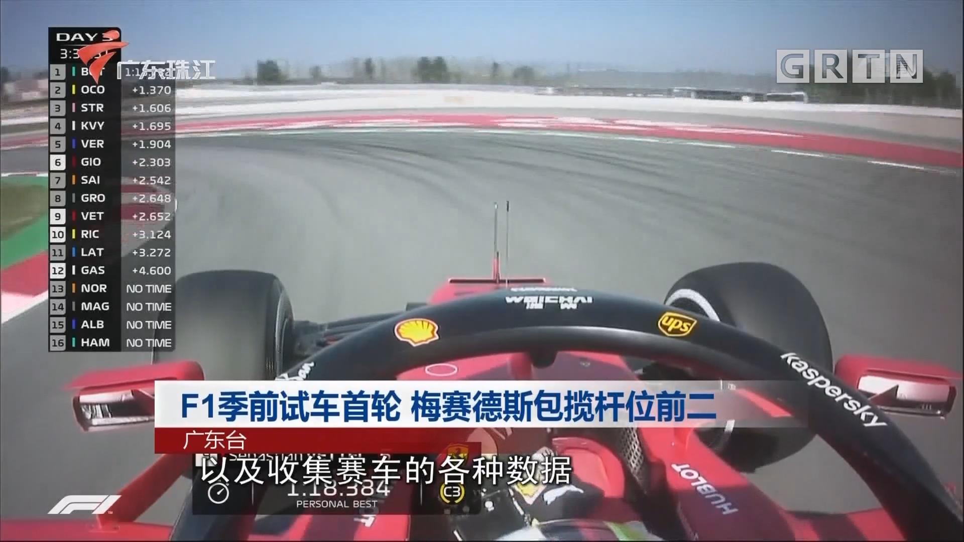F1季前试车首轮 梅赛德斯包揽杆位前二