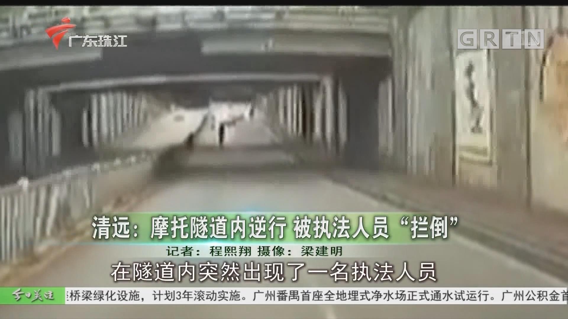 """清远:摩托隧道内逆行 被执法人员""""拦倒"""""""