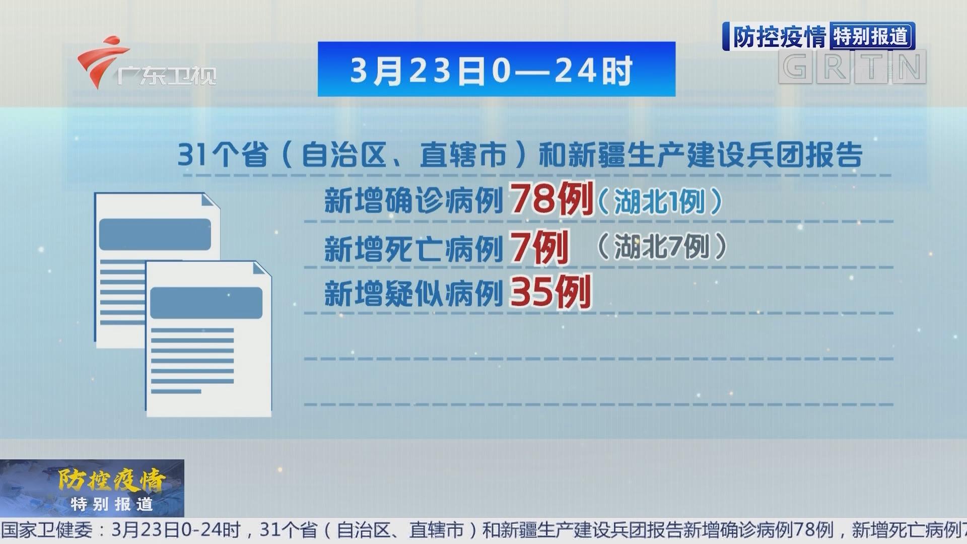 3月23日全国新增确诊病例78例 其中74例为境外输入
