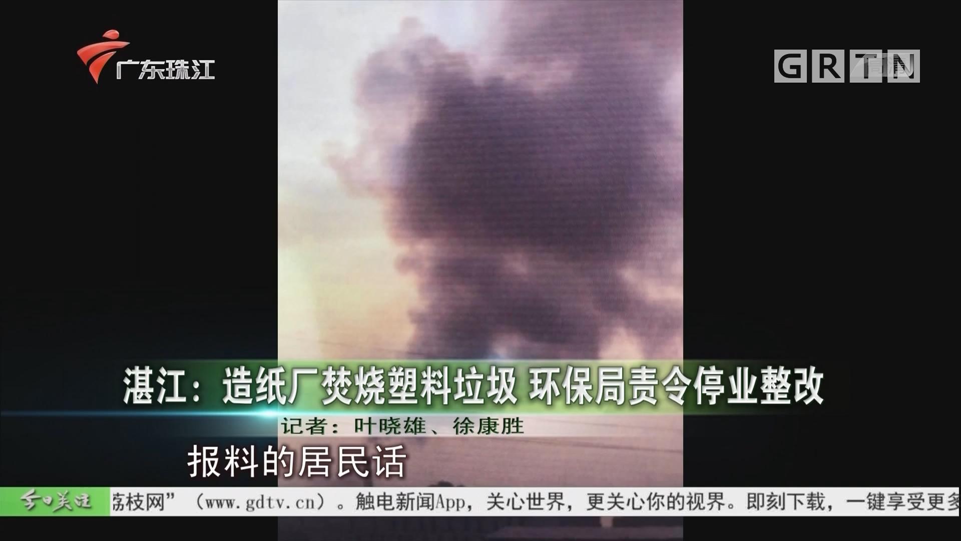 湛江:造纸厂焚烧塑料垃圾 环保局责令停业整改