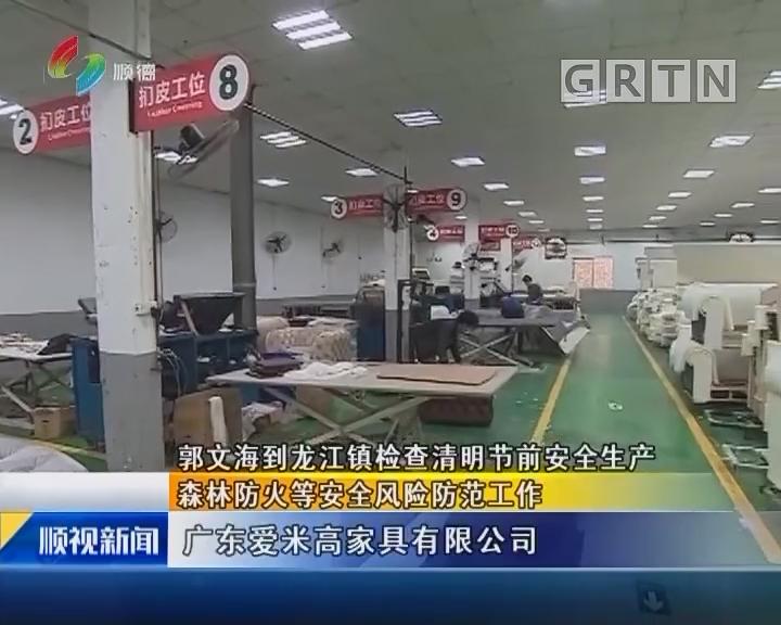 郭文海到龙江镇检查清明节前安全生产 森林防火等安全风险防范工作
