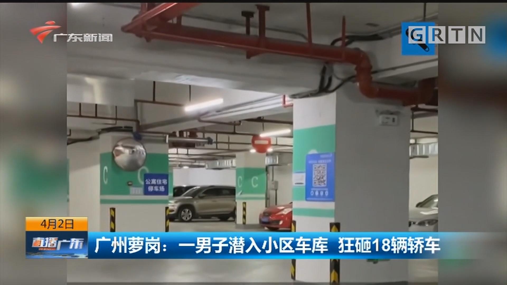 广州萝岗:一男子潜入小区车库 狂砸18辆轿车