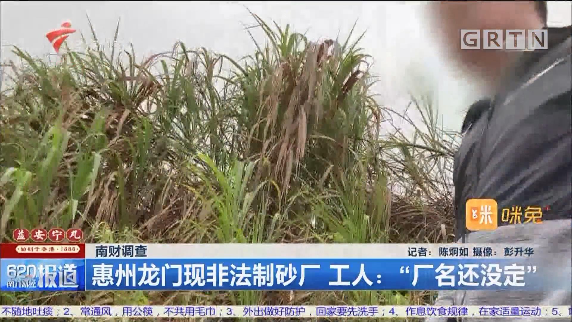 """南财调查 惠州龙门现非法制砂厂 工人:""""厂名还没定"""""""