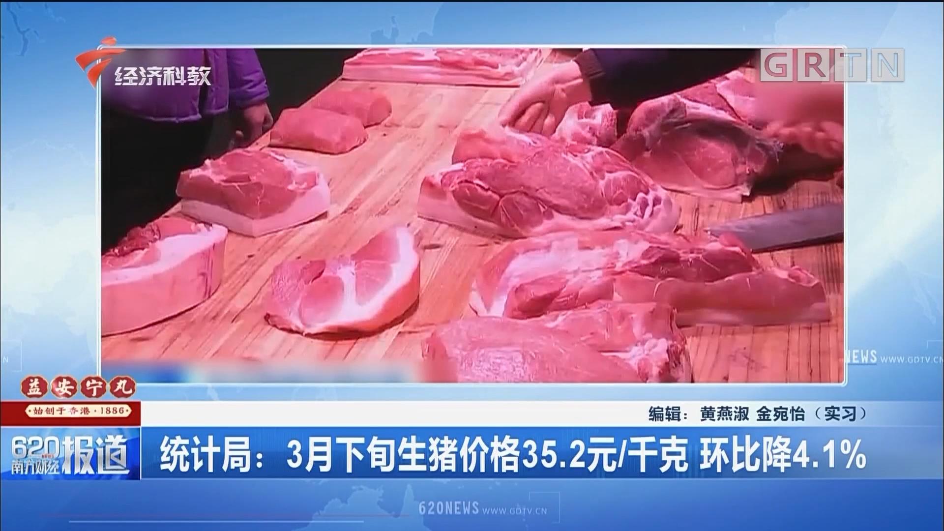 统计局:3月下旬生猪价格35.2元/千克 环比降4.1%