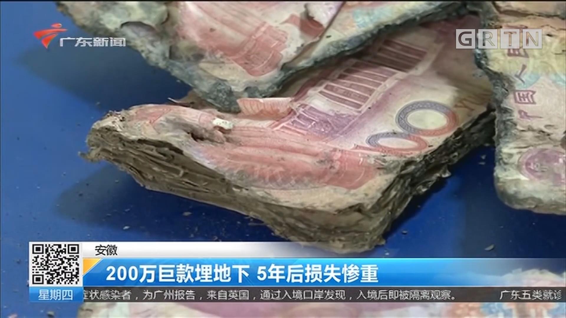 安徽 200万巨款埋地下 5年后损失惨重