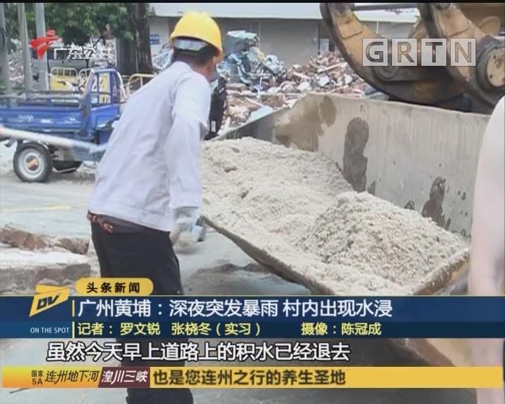 广州黄埔:深夜突发暴雨 村内出现水浸