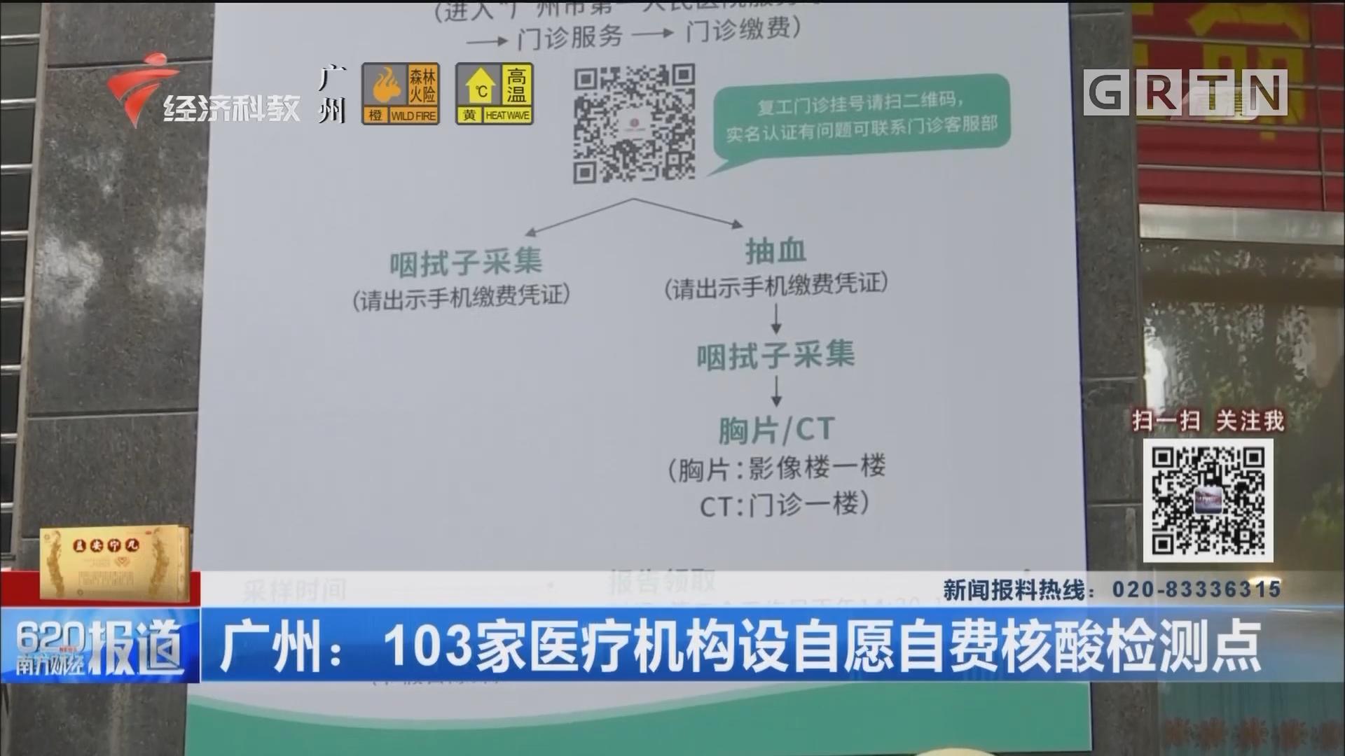 廣州:103家醫療機構設自愿自費核酸檢測點