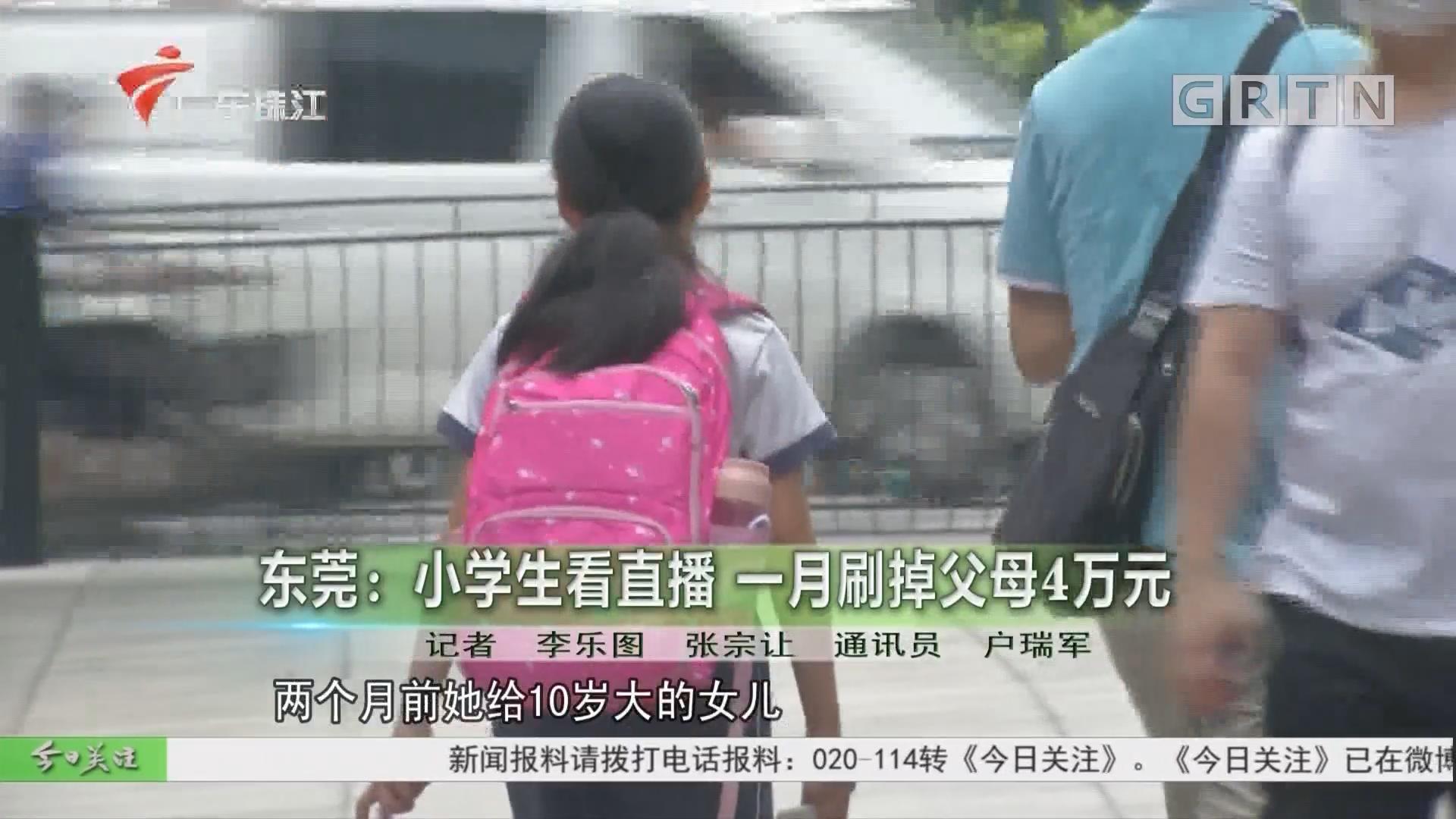 东莞:小学生看直播 一月刷掉父母4万元