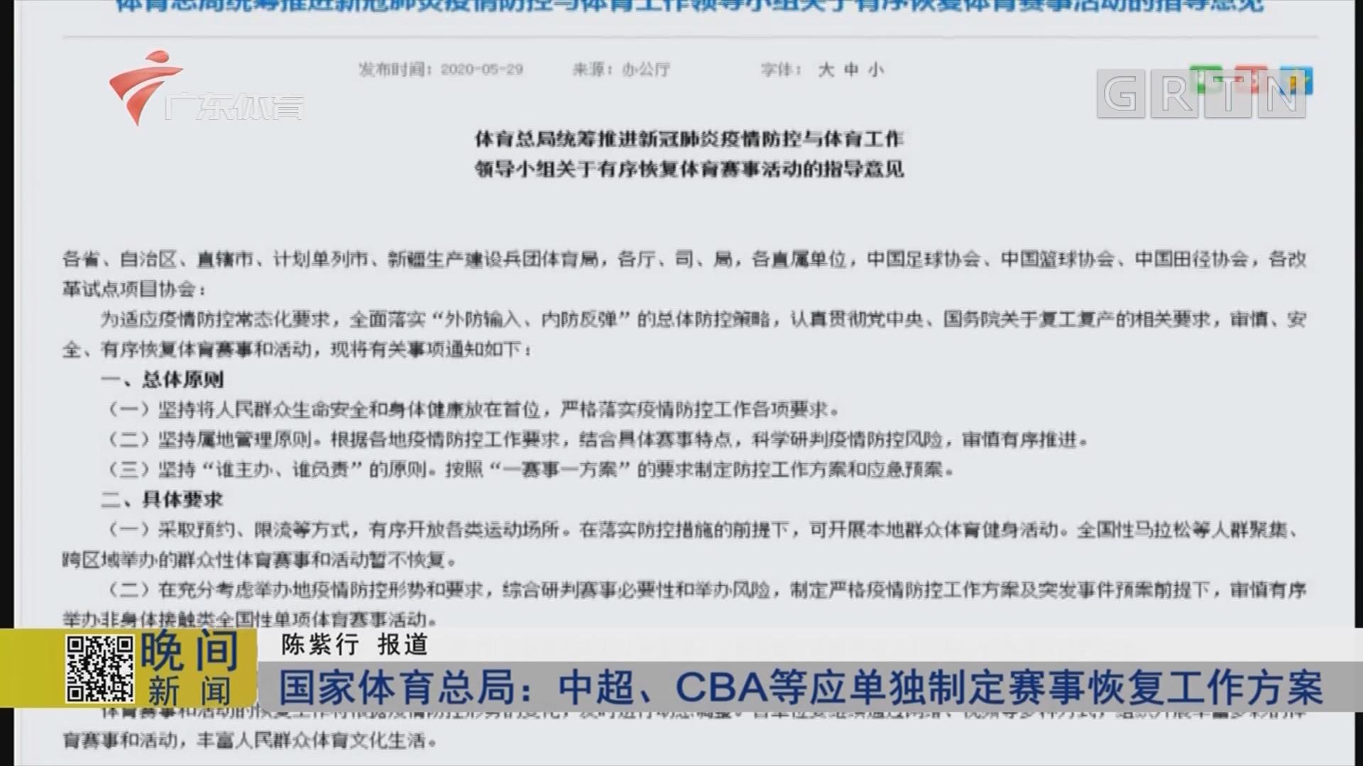 國家體育總局:中超、CBA等應單獨制定賽事恢復工作方案
