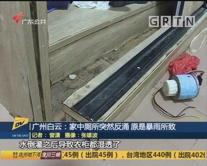 广州白云:家中厕所突然反涌 原是暴雨所致