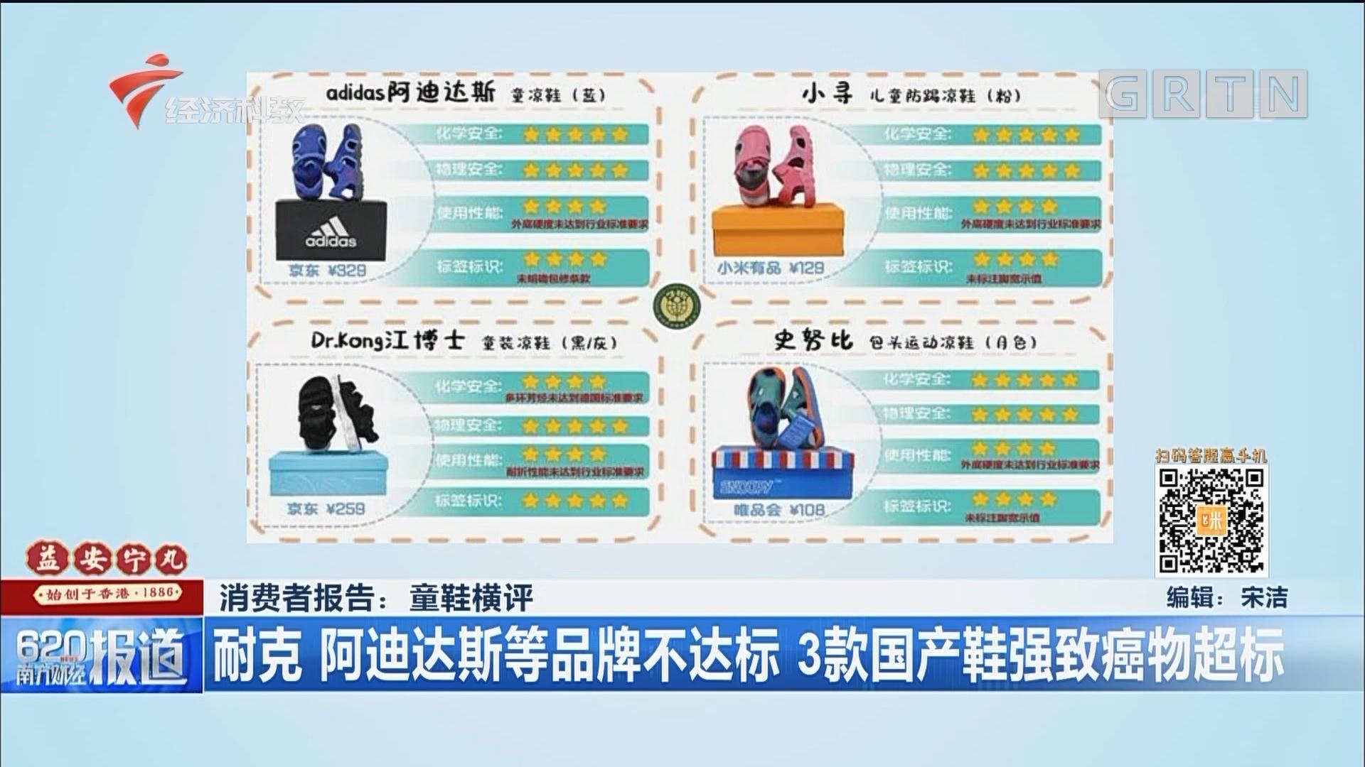 消费者报告:童鞋横评 耐克 阿迪达斯等品牌不达标 3款国产鞋强致癌物超标