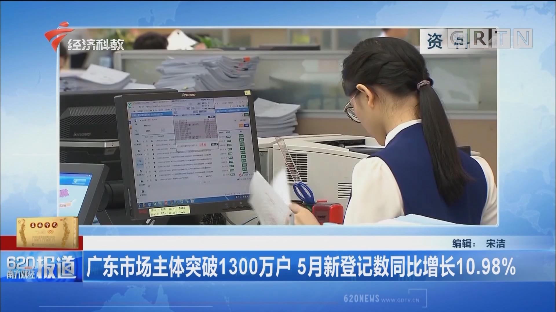 广东市场主体突破1300万户 5月新登记数同比增长10.98%