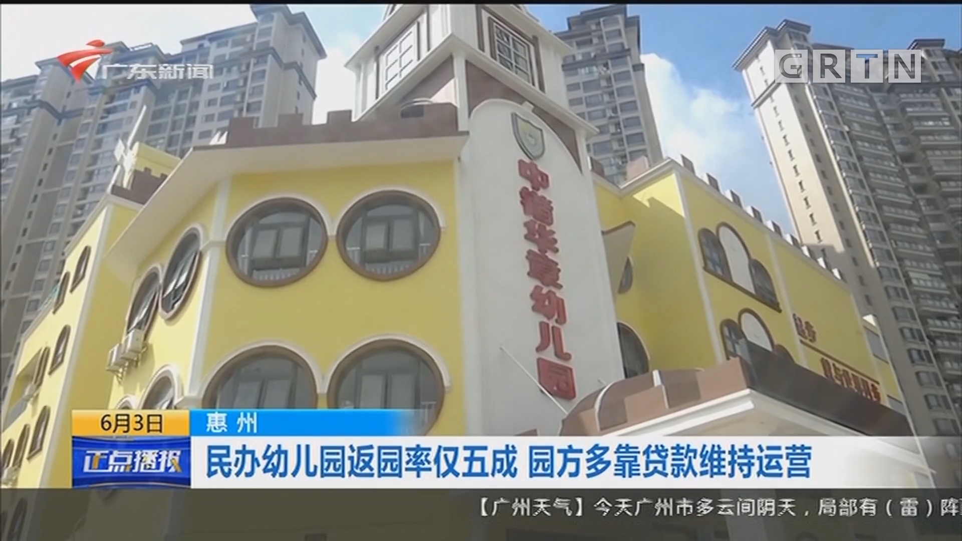 [HD][2020-06-03-14:00]正点播报:惠州 民办幼儿园返园率仅五成 园方多靠贷款维持运营