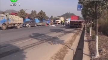梅州:206国道摩托车货车相撞 2人当场身亡