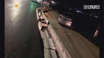 交通安全:珠海 车撞老人后 多亏爆胎才没坠海