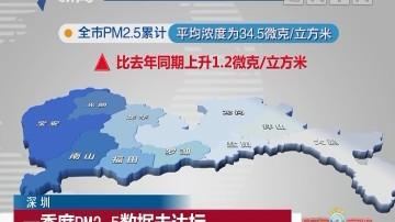 深圳:一季度PM2.5数据未达标