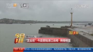 """第4号台风""""艾云尼"""":""""艾云尼""""今晨登陆湛江徐闻 降雨明显"""