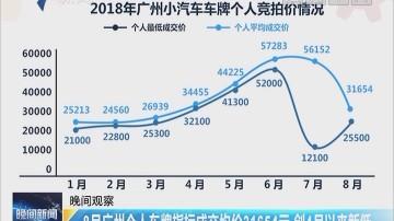 8月广州个人车牌指标成交均价31654元 创4月以来新低