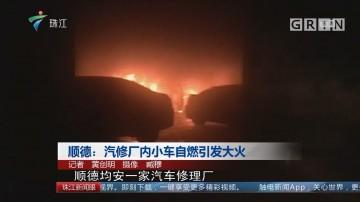 顺德:汽修厂内小车自燃引发大火