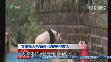女童掉入熊猫园 保安悬空救人