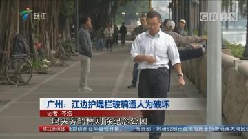 广州:江边护堤栏玻璃遭人为破坏