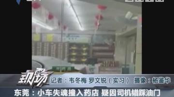 东莞:小车失魂撞入药店 疑因司机错踩油门