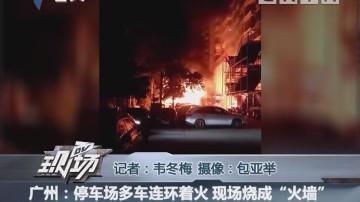 """广州:停车场多车连环着火 现场烧成""""火墙"""""""