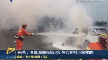 东莞:清晨道路轿车起火 热心司机下车救助