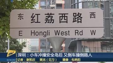 深圳:小车冲撞安全岛后 又倒车撞倒路人