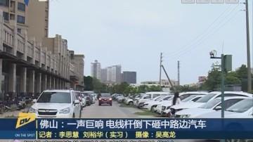 (DV现场)佛山:一声巨响 电线杆倒下砸中路边汽车