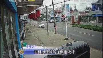 司机涉嫌醉驾撞倒电线杆