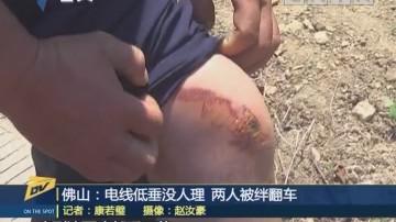 (DV现场)佛山:电线低垂没人理 两人被绊翻车