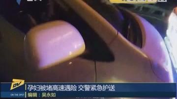 (DV现场)孕妇被堵高速遇险 交警紧急护送