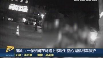 鹤山:一孕妇蹲在马路上欲轻生 热心司机挡车保护