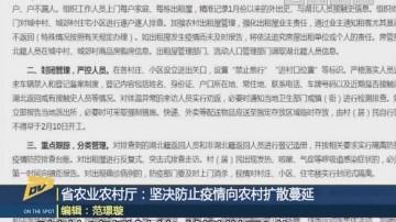(DV現場)省農業農村廳:堅決防止疫情向農村擴散蔓延