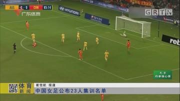 中国女足公布23人集训名单