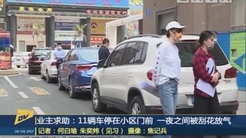 (DV现场)业主求助:11辆车停在小区门前 一夜之间被刮花放气