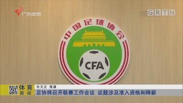 足协将召开联赛工作会议 议题涉及准入资格和降薪