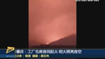(DV现场)肇庆:工厂仓库夜间起火 明火照亮夜空