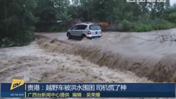 贵港:越野车被洪水围困 司机慌了神